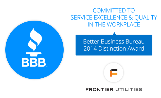 Frontier Wins BBB Distinction Award for Outstanding Customer Service!